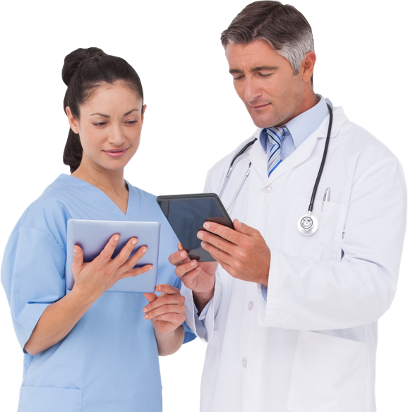 Two doctors searching for information on tablets